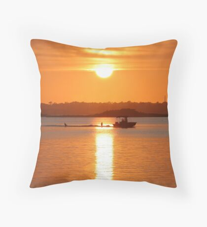 Boating At Sunset Throw Pillow