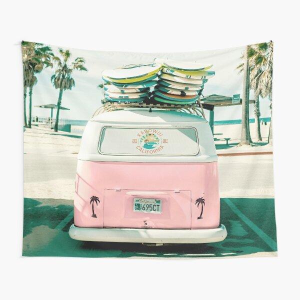 Pink Kombi Van Surf Art Tapestry