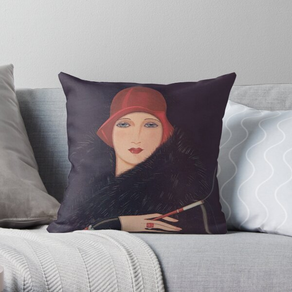 Art Deco Flapper Throw Pillow