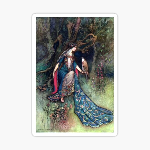 Canacee and the Falcon - Warwick Goble Sticker