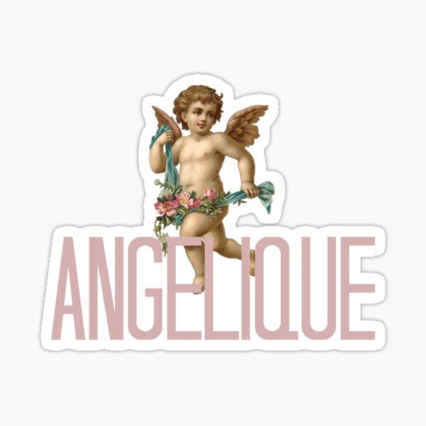 Aesthetic Angelic Cherub with Flowers Print Sticker