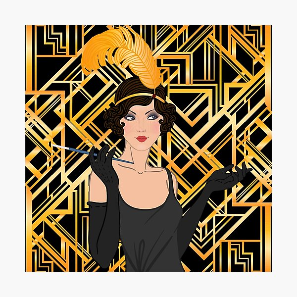 Art deco,gold,black,flapper girl,The Great Gatsby,1920 era,vintage,elegant,chic,modern,trendy Photographic Print