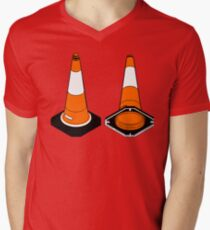 orange and black Traffic cones safety pylons Mens V-Neck T-Shirt
