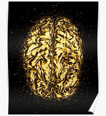 Brain low poly golden Gold Poster