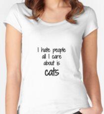 Camiseta entallada de cuello redondo Cat I Hate People Funny Gift Idea