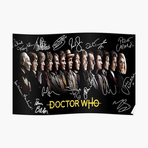 Docteur Who - Tous les 14 médecins avec des autographes. Poster