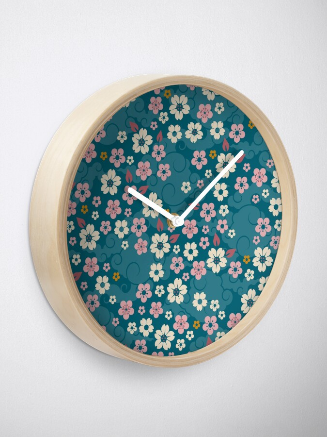 Alternate view of Pink + White Blossoms on Blue Clock