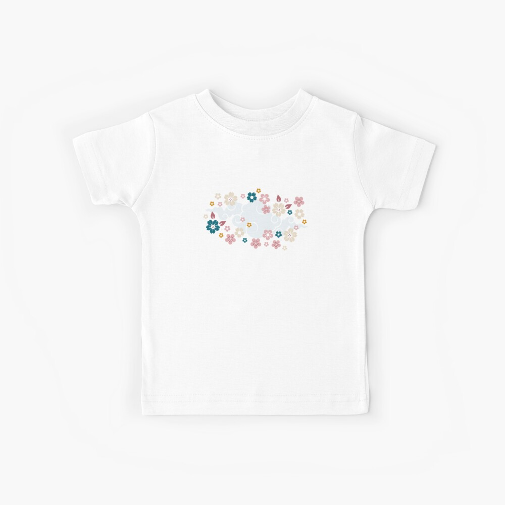 Pink + White Blossoms on Blue Kids T-Shirt