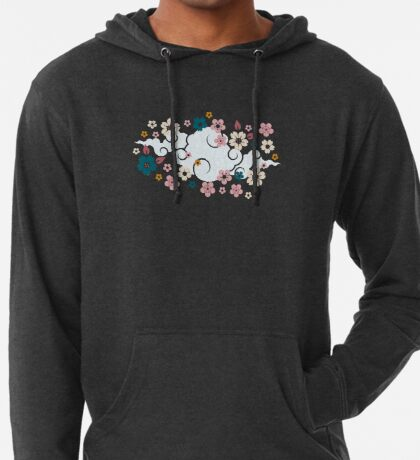 Pink + White Blossoms on Blue Lightweight Hoodie