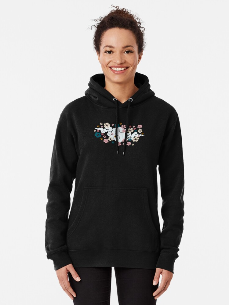 Alternate view of Pink + White Blossoms on Blue Pullover Hoodie
