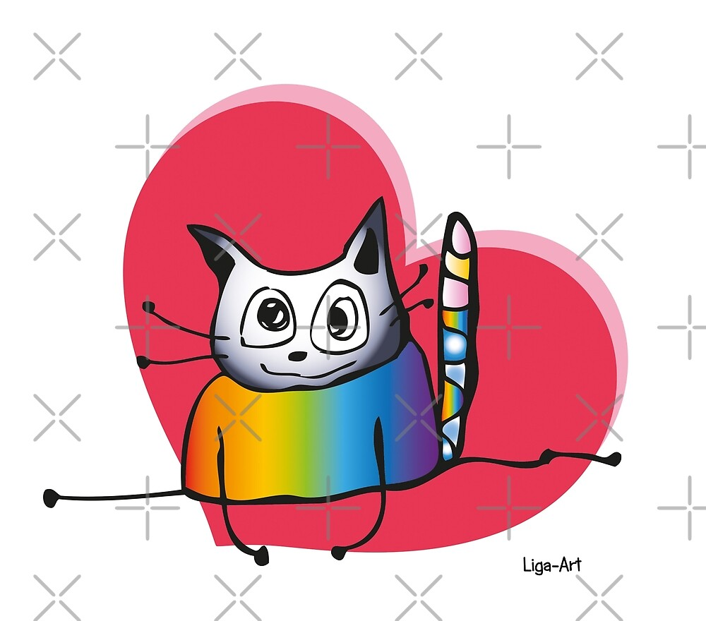 Cat with heart (love) by liga-art