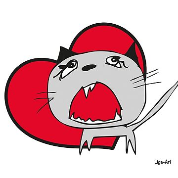 Cat I love you with heart by liga-art