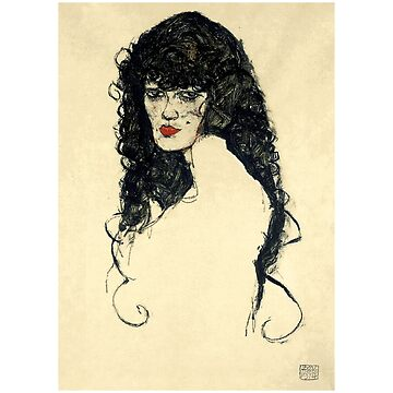 Portrait of a Woman with Black Hair (1914) by Egon Schiele by Chunga