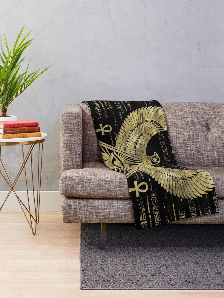 Prime Egyptian Eye Of Horus Wadjet Gold And Black Throw Blanket Cjindustries Chair Design For Home Cjindustriesco