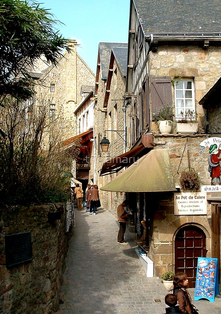 The narrow streets of Mont St Michel, France  by triciamary