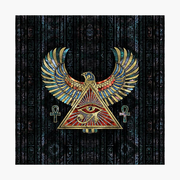 Eye of Horus - Wadjet  Gemstone and Gold Photographic Print