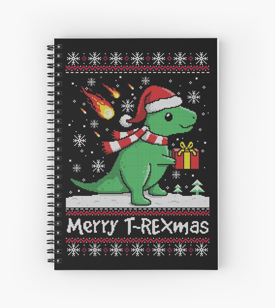 T Rex Ugly Christmas Sweater.Merry T Rex Mas Ugly Christmas Sweater Spiral Notebook By Nemimakeit