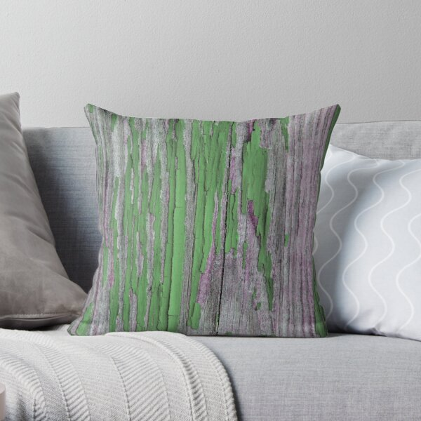 Rustic peeling paint in green Throw Pillow