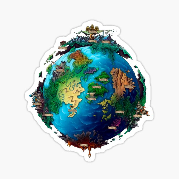 Planet World Anvil with Place names Sticker