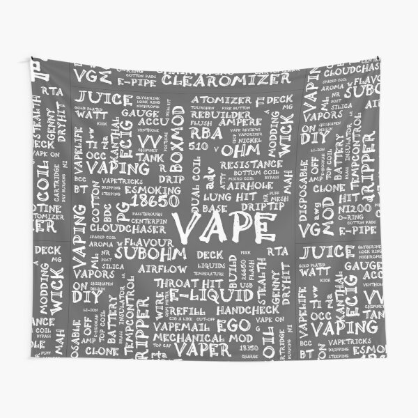Vape Design Wordcloud Poster White Tapestry