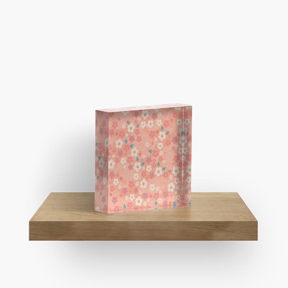 Cherry Blossoms in Peach Acrylic Block