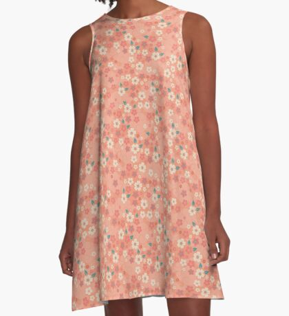 Cherry Blossoms in Peach A-Line Dress