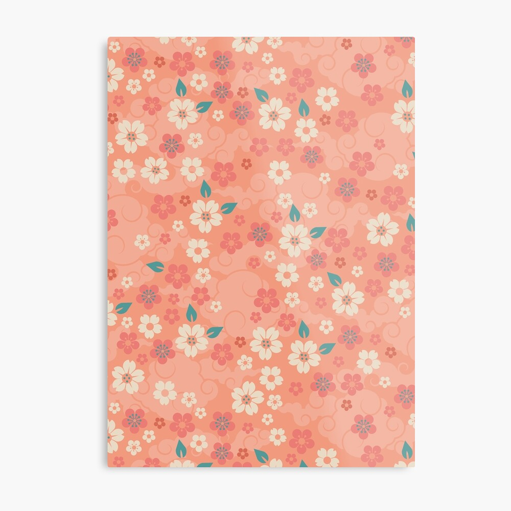 Cherry Blossoms in Peach Metal Print