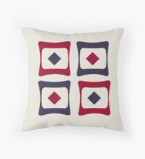 RETRO FUNKY VINTAGE SQUARES IN COCONUT MILK- JESTER RED AND ECLIPSE BLUE Throw Pillow