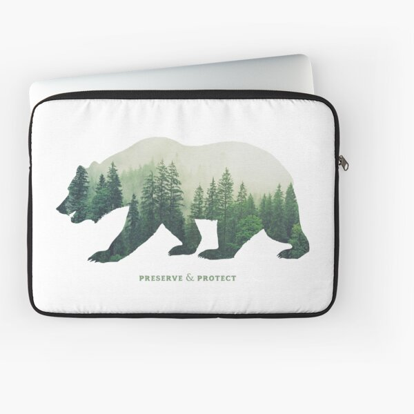 Preserve & Protect Nature Double Exposure Bear Silhouette Trees Forest Save the Environment Climate Change Wilderness Hiking Camping Laptop Sleeve