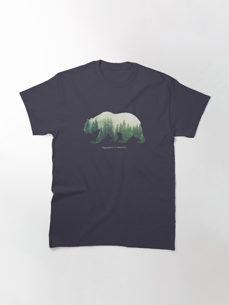 Alternate view of Preserve & Protect Nature Double Exposure Bear Silhouette Trees Forest Save the Environment Climate Change Wilderness Hiking Camping Classic T-Shirt