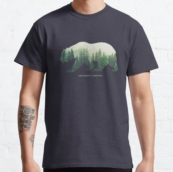 Preserve & Protect Nature Double Exposure Bear Silhouette Trees Forest Save the Environment Climate Change Wilderness Hiking Camping Classic T-Shirt
