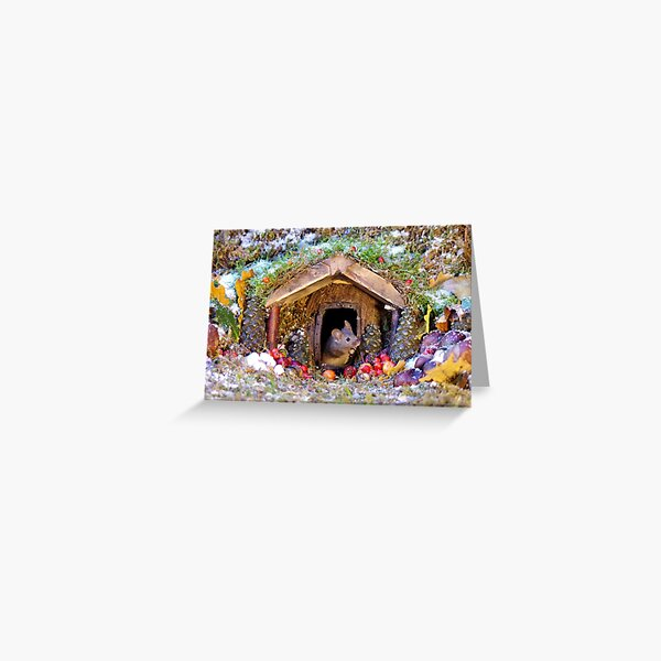 festive christmas mouse in a log cabin house Greeting Card