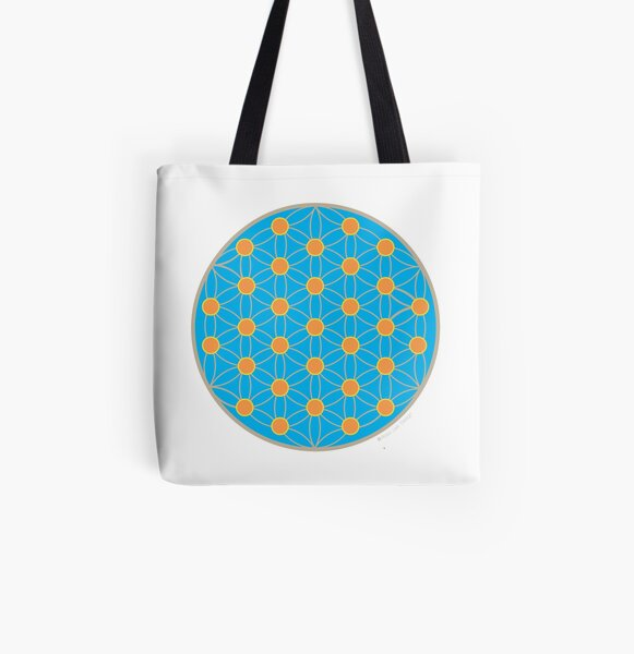 Flower of life blue summer All Over Print Tote Bag