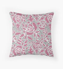 Gray pink lace Throw Pillow