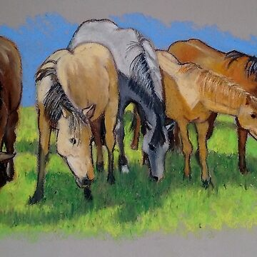 Group of HORSES, Oil Pastel Art, Equine, Western, Ranch by Joyce