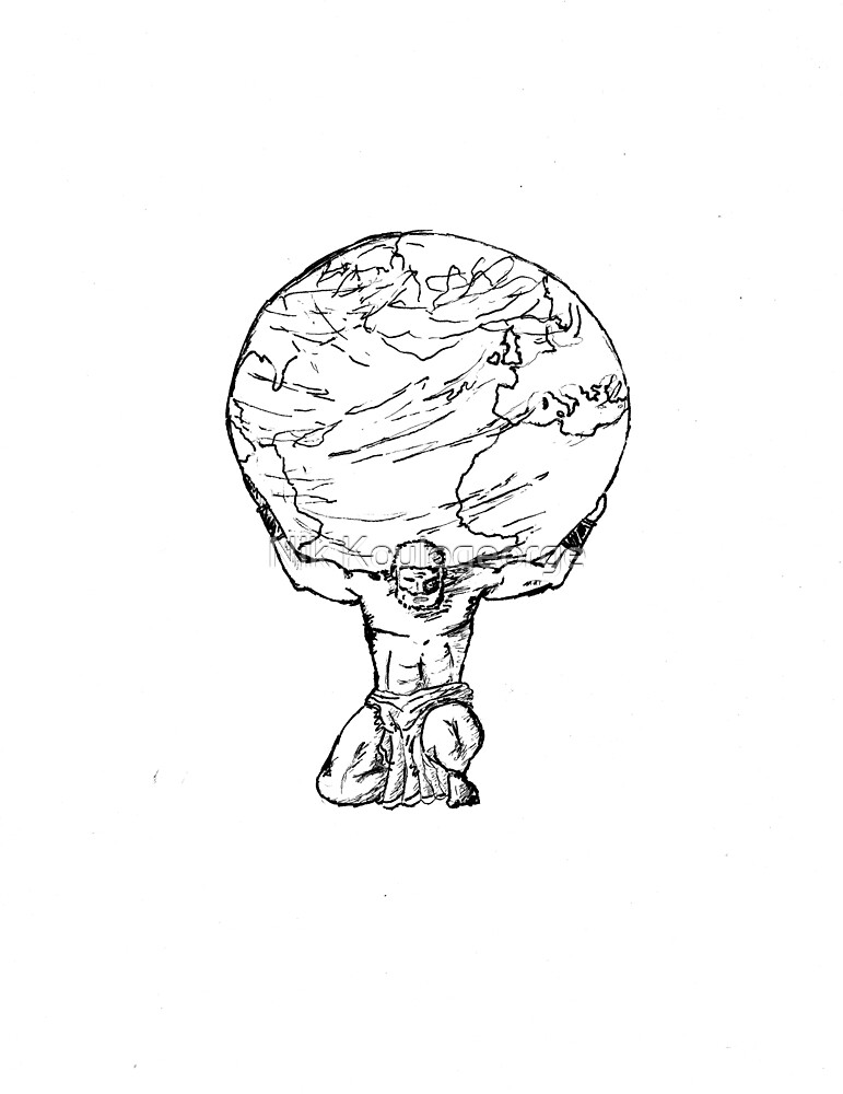 Atlas - Black & White Sketch by Nik Koulogeorge