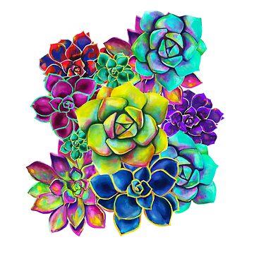 Multicolor Psychedelic Succulent Pattern by artbysavi