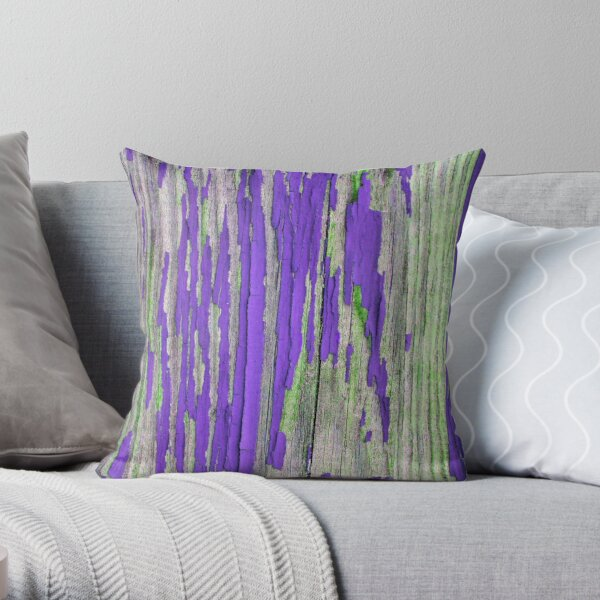 Rustic weathered wood in purple Throw Pillow