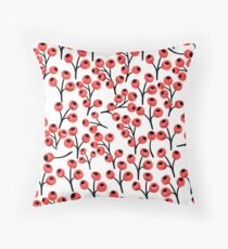 Christmas pattern with red berries - no4 Throw Pillow