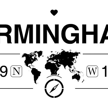 Birmingham England GPS Coordinates Map Artwork with Compass   by Map-Your-World