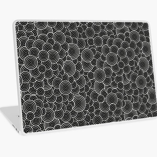 Chaotic Circles - Geometric Pattern (Black) Laptop Skin