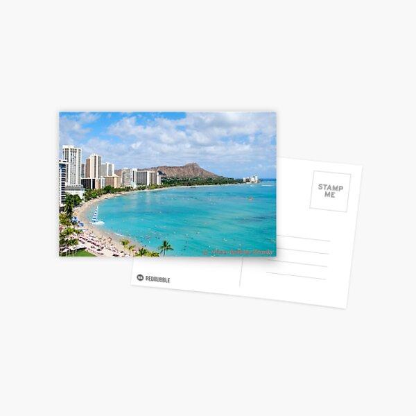 Waikiki Beach and Diamond Head - Honolulu Postcard