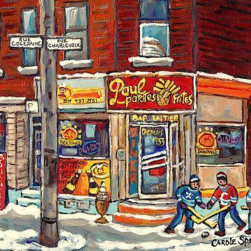PSC STREET HOCKEY PAINTING CANADIAN WINTER SCENE RUE COLERAINE AND CHARLEVOIX C SPANDAU CORNER STORE RESTAURANT ART by CaroleSpandau