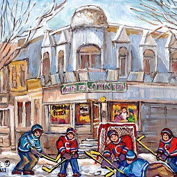 PIZZERIA FAST FOOD POINT ST CHARLES URBAN CITY SCENE C SPANDAU CANADIAN WINTER HOCKEY STREET SCENE by CaroleSpandau