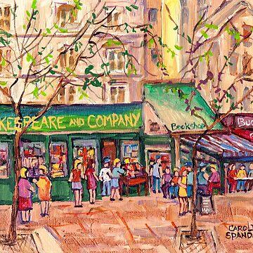 FRENCH CAFES AND BOOKSTORE PAINTINGS PARIS CITY SCENES BISTROS BOOKSHOPS BOULANGERIES C SPANDAU ARTIST by CaroleSpandau