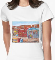 OTTAWA BYWARD MARKET CANADIAN SCENES OUTDOOR URBAN MALLS ICE CREAM AND PASTRY SHOPS C SPANDAU ARTIST Women's Fitted T-Shirt