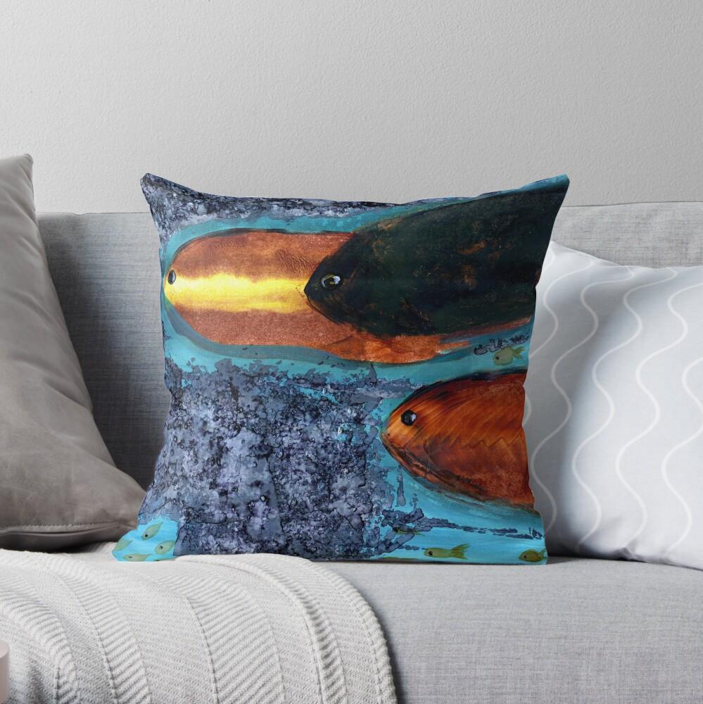 Here Fishy Fishy Throw Pillow