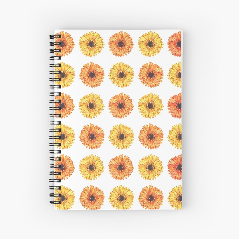 Colorful Gerbera Daisy Flower Pattern Spiral Notebook