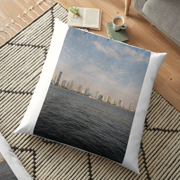 #city #cityscape #water #architecture #skyscraper #sky #river #tower #harbor #modern #office #sunset #waterfront #horizontal #colorimage #urbanskyline #builtstructure #day #downtowndistrict #nopeople Floor Pillow