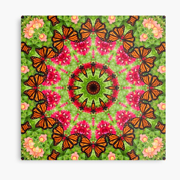 Monarch Butterfly Mandala Zen Kaleidoscope Gregarious Spirit Metal Print